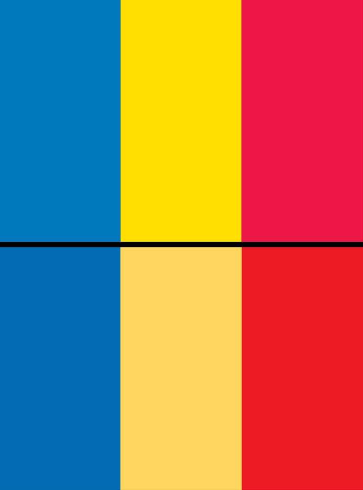 चाड और रोमानिया का राष्ट्रीय ध्वज