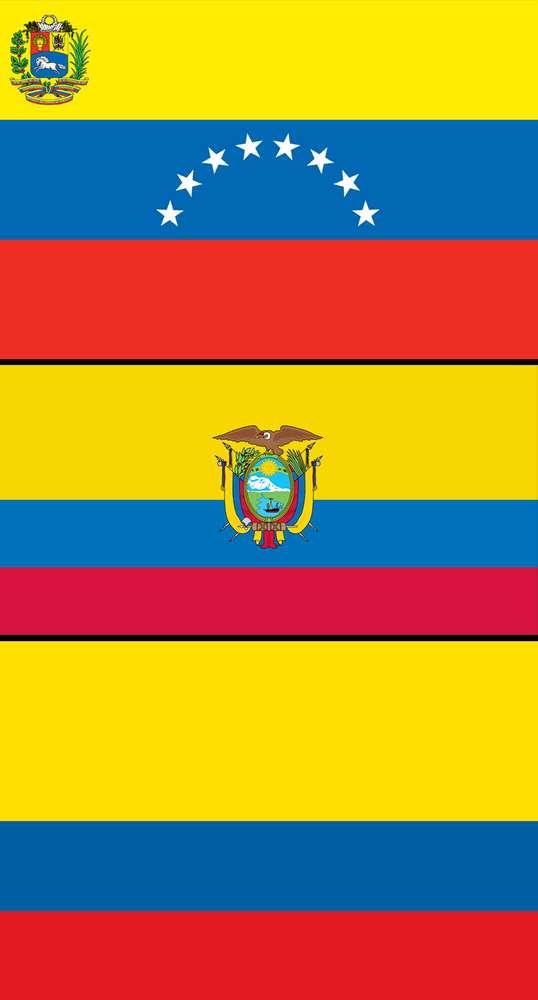 वेनेज़ुएला (Venezuela), इक्वाडोर (Ecuador)और कोलंबिया (Colombia) का राष्ट्रीय ध्वज