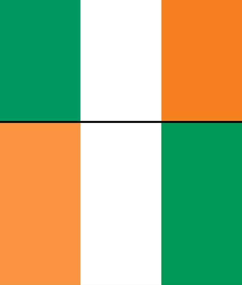 आयरलैंड (Ireland)और कोटे डी आइवर (Côte d'Ivoire) का राष्ट्रीय ध्वज