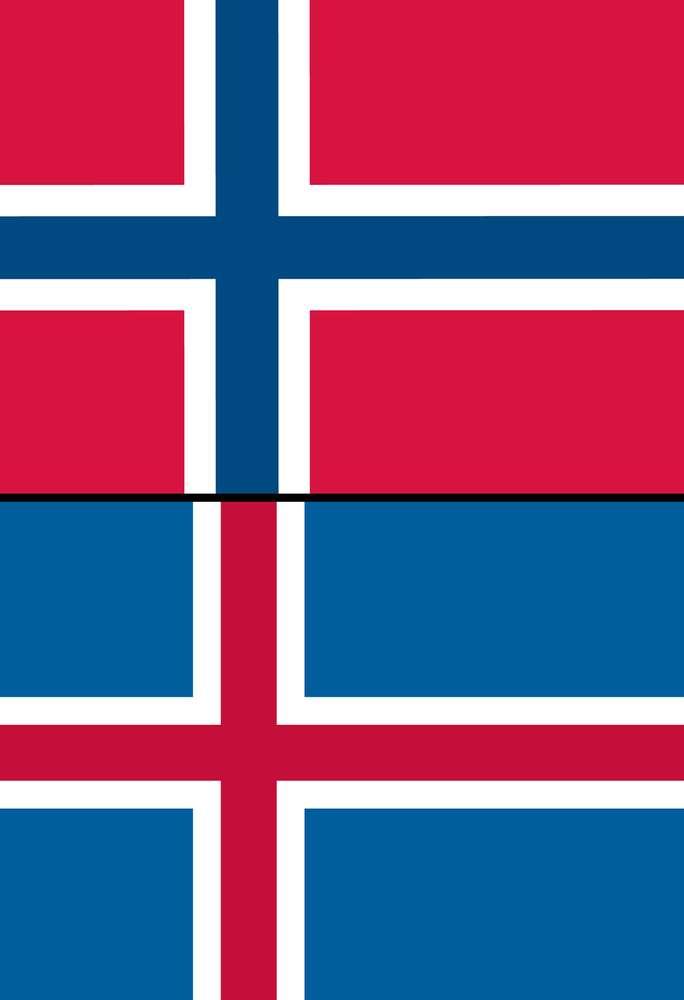 नॉर्वे (Norway)और आइसलैंड (Iceland) का राष्ट्रीय ध्वज